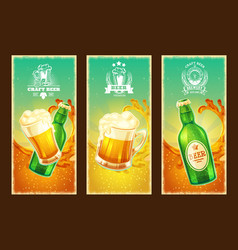 set of isolated cartoon banners with beer vector image