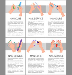 Set of manicure and nail service colorful cards vector