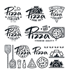 Set of pizzeria labels badges and design elements vector