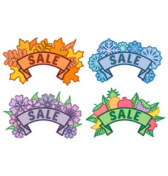 Set of seasonal sale signs autumn winter spring vector