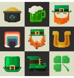 Set of shiny flat Irish St Patricks Day icons vector image