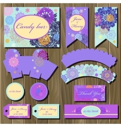 Set printable backgrounds to wedding candy bar vector