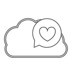Silhouette cloud in cumulus with heart dialogue vector