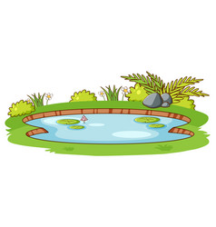 Small pond with green grass on white background vector