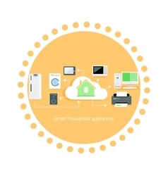 Smart Household Appliances Icon Flat Design vector image