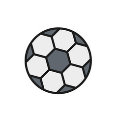 Soccer ball flat color line icon isolated vector