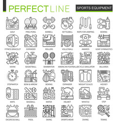 Sport equipment outline mini concept symbols vector
