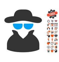 Spy icon with valentine bonus vector