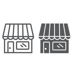 store line and glyph icon business and market vector image