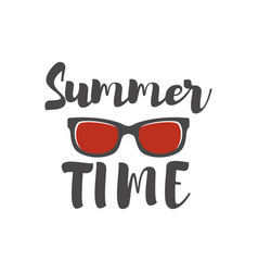 Summer time lettering phrase with sunglass vector