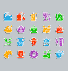 tea patch sticker icons set vector image