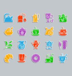 tea patch sticker icons set vector image