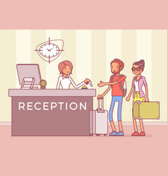 Tourists at reception in a hotel vector