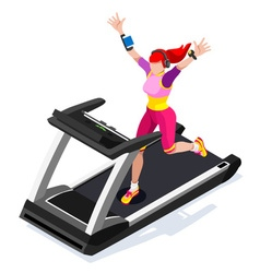 Treadmill Fitness Class Working Out 3D Isometric vector
