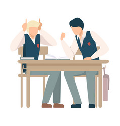 Two boys sitting at school desk and talking vector