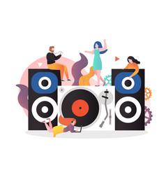 vintage vinyl music concept for web banner vector image
