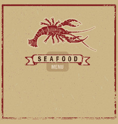 Wodcut seafood icon vector