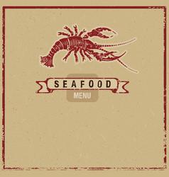 wodcut seafood icon vector image