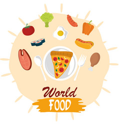 world food day protein vegetable healthy vector image