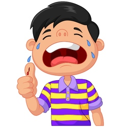young boy crying vector image