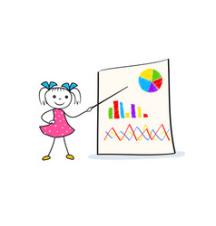young cartoon girl pointing at board with graph vector image