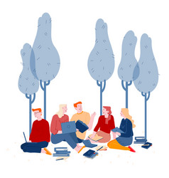Young people studying together outdoors on nature vector