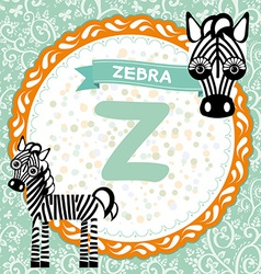 ABC animals Z is zebra Childrens english alphabet vector image vector image