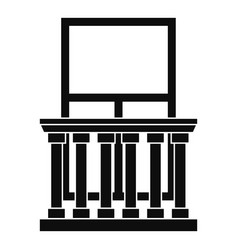 Balcony with columns icon simple style vector