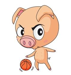 Pig basketball vector image vector image