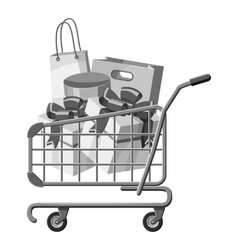Sale shopping cart with boxes icon vector image vector image