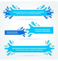 strip label water blue splash drops liquid vector image vector image