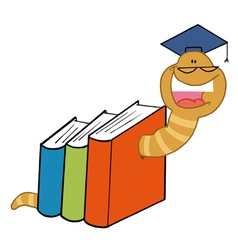 Worm Crawling Through Books vector image vector image
