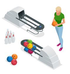 isometric bowling pins at bowling machine a vector image vector image
