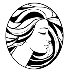 monochrome drawing profile silhouette vector image vector image