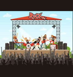 rock band on stage people on concert music vector image