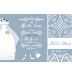 Bridal shower invitationswinter weddingpattern vector