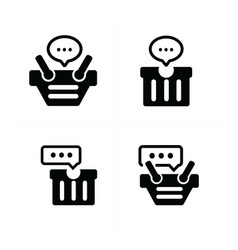 bubble talk in cart icon set 4 vector image vector image