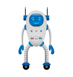 electronic robot on wheels isolated vector image