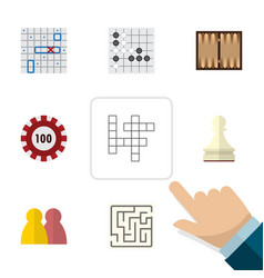 flat icon entertainment set of poker people dice vector image