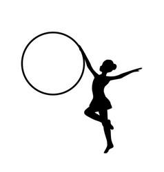 girl gymnastic sport silhouette sportswoman hula vector image vector image