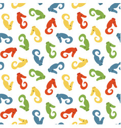 seamless pattern background with sea horses vector image vector image