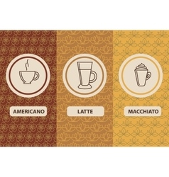 Set linear coffee package ornamental vector image vector image