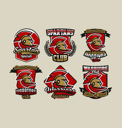 Set of colorful logos emblems spartan helmet and vector