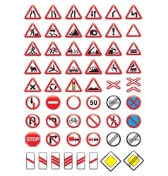 Set of glossy road signs vector image vector image
