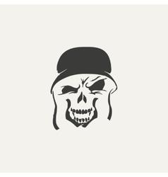 skull in helmet Black and white vector image