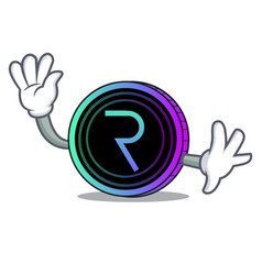 waving request network coin character cartoon vector image vector image