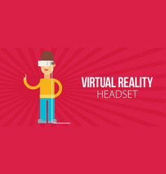 A man with isometric virtual reality headset vector