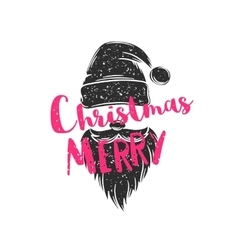 Christmas poster with hat and beard of Santa Claus vector image