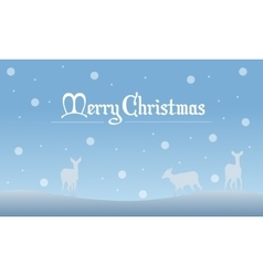 Deer with snow Christmas landscape of silhouettes vector image