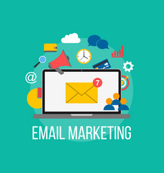 email marketing concept laptop with envelope on vector image